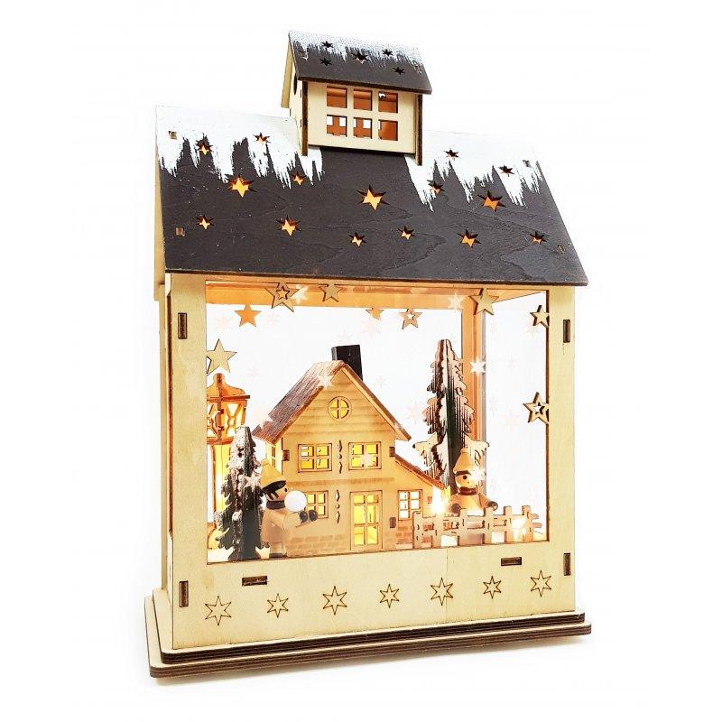 led lichterhaus mit timer holz haus weihnachten winterkinder haus. Black Bedroom Furniture Sets. Home Design Ideas