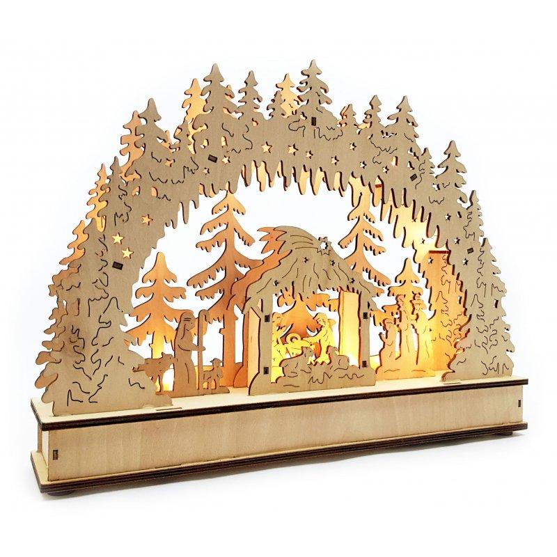 led schwibbogen mit timer jesu geburt leuchter weihnachten christi. Black Bedroom Furniture Sets. Home Design Ideas