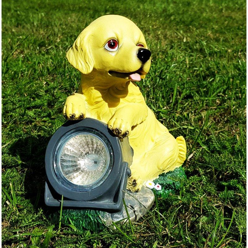 Wichtelstube Kollektion Solarhund Hund Mit Solarlampe Solarfigur Für