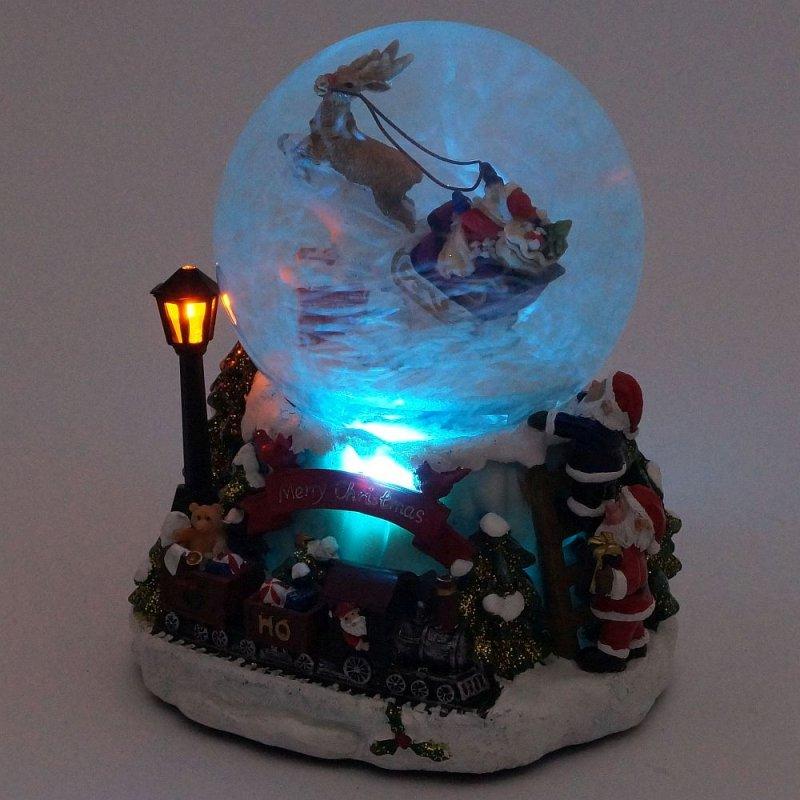 Led Weihnachten.Xl Led Schneekugel Weihnachten Elektrischer Schneewirbel Viele Melodien Und Farbwechsel Glitzerkugel