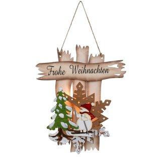 Led Frohe Weihnachten.Holz Türhänger Frohe Weihnachten Fensterbild Schneemann 29 X 3 X 36 Cm Batteriebetrieb Led