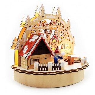 Schwibbogen Beleuchtung | Raucherhaus Mit Teelichthalter Und Led Beleuchtung Winterkind Mini