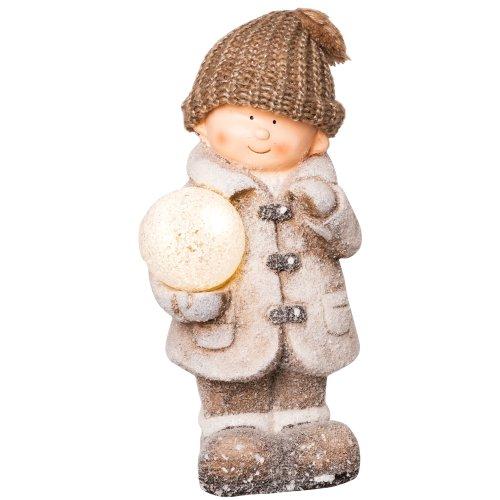 Wichtelstube-Kollektion XL 35cm Dekofigur mit LED Schneeball Junge Weihnachten Deko Figur Garten Weihnachsdeko