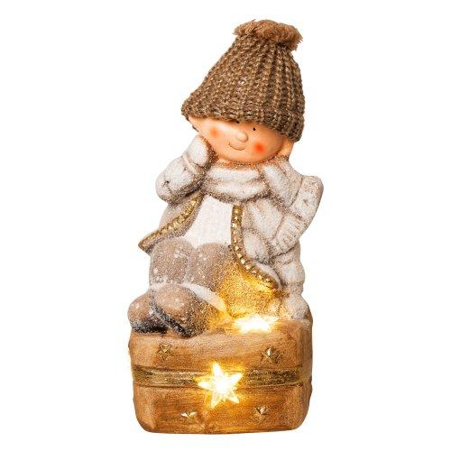 Wichtelstube-Kollektion XL 37cm LED Dekofigur Winterkind mit Koffer Weihnachten Deko Weihnachtsdeko Figuren Garten