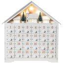 Wichtelstube-Kollektion Adventskalender zum befüllen, Winterdorf weiß XL Fächer, Weihnachtsdeko Holz beleuchtet