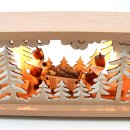 Wichtelstube-Kollektion Holz Schwibbogenbank Schwibbogenunterbau  Bergmannfiguren 57x10x13cm