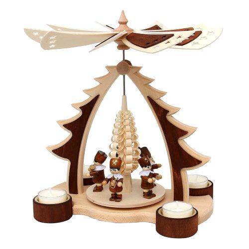 """Wichtelstube-Kollektion Holz Weihnachtsyramide """"Bergleute Erzgebirge"""" Teelicht Pyramide"""