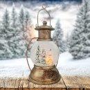 XL LED Schneekugel Weihnachten Laterne viele Melodien Glitzerkugel Winterwald Vintage