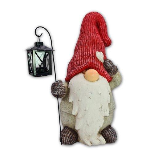 Wichtelstube-Kollektion XL Wichtel Figur Dekofigur mit Laterne Garten Weihnachten 35cm Weihnachtsdeko aussen