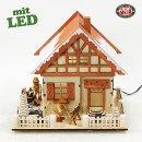 LED Lichterhaus mit 2 Waldarbeiter Vogtland Souvenir