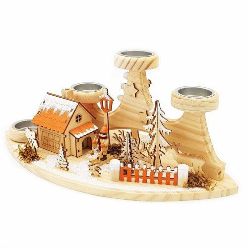 """Wichtelstube-Kollektion Räucherhäuschen """"Einkehr Waldhütte"""" mit Teelichthalter"""