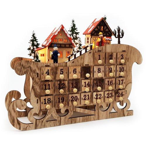 """LED Adventskalender Holz """"Weihnachtsschlitten"""" Schwibbogen"""