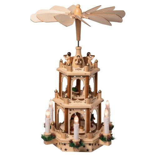 Holz Weihnachtspyramide mit elektrischem Antrieb und beleuchteten LED Kerzen H:43,5cm